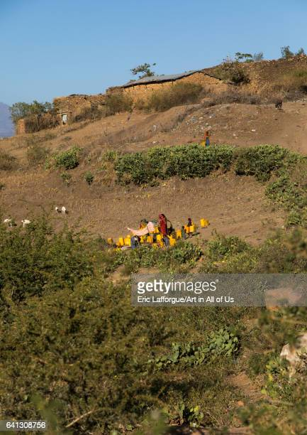 Water well in a traditional Argoba stone houses village on January 12 2017 in Koremi Ethiopia