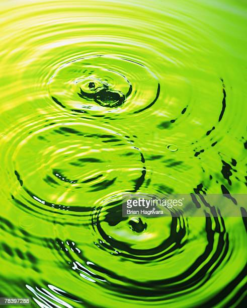 Water with ripples in green