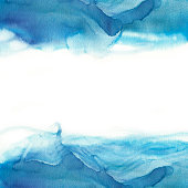 Abstract blue watercolor wave on white background. The color splashing in the paper. It is a hand drawn. watercolor print for clothes. Watercolor designer element. herbaceous background for decor.