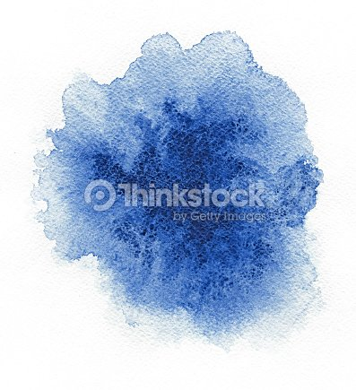 Watercolor. Abstract blue spot on white watercolor paper. : Stock Photo