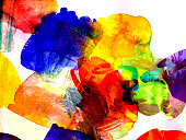 abstract bright watercolor and gouache shapes in different tones, tints, textures and layers combined, colors of hot summer