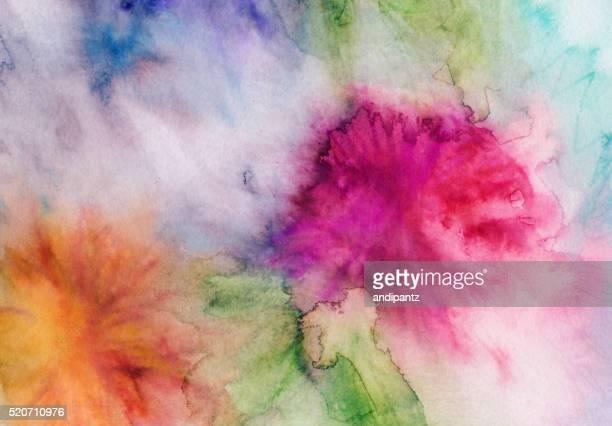 Acuarela y tinta Mano pintó fondo abstracto