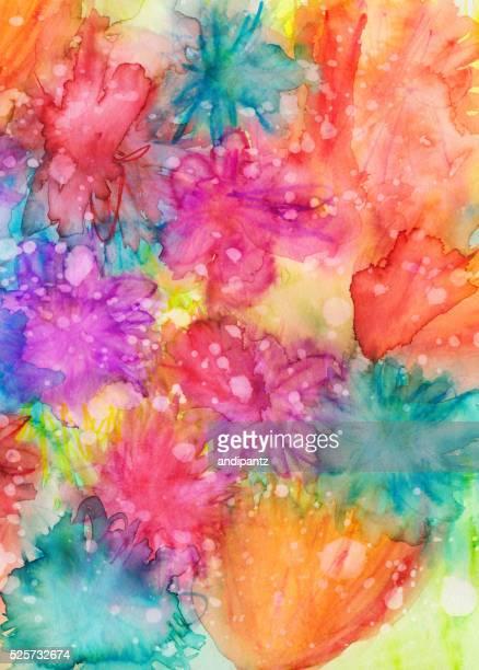 Aquarelle peinte à la main et encre colorée fond texturé