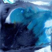 Indigo and bright blue watercolor background. Hand-drawn illustration.
