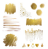 Watercolor Design Elements, Gold, Hand-painted, Watercolor Brush Strokes, Hand-painted. Shiny metallic gold leaf design elements on watercolor paper. Circles, Stripes, Brush strokes, dots, polka dots,