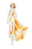 Watercolor fashion illustration, model in a long dress, catwalk
