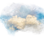 Watercolor illustration of sky with cloud (retouch). Artistic natural painting abstract background.