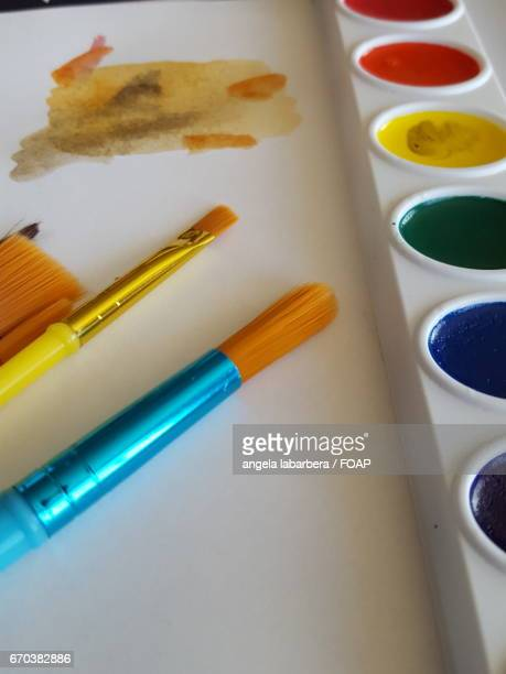 Watercolor paint palette with brush