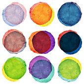 Watercolor painted overlapping circles collection isolated on white