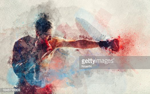 Watercolor painting of boxer striking a blow : Stock Photo