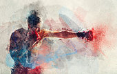 Watercolor painting of boxer striking a blow. Professional sport. Fighting.