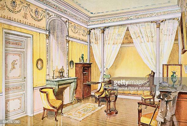 Watercolor Painting of French Bedroom Interior by Georges Remon
