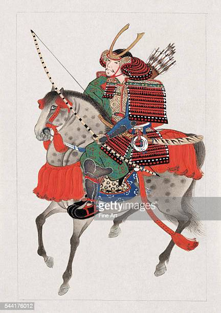 Watercolor painting of samurai soldier on horseback with full complement of armor and weapons Watercolor and gold highlights Japan circa 1900 Private...