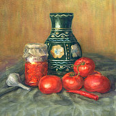 Realistic watercolor painting. Tomatoes, jar and spice.