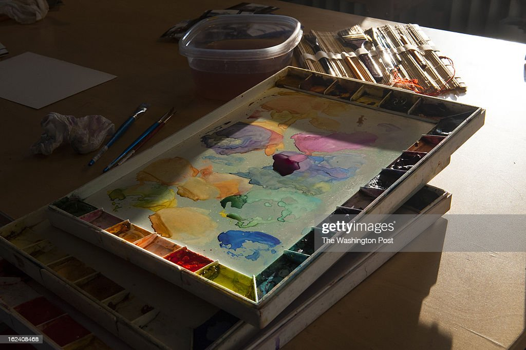 Watercolors wait to be applied in Martha Dougherty's studio space in the Bromo Seltzer tower Wednesday February 14, 2013 in Baltimore, MD.