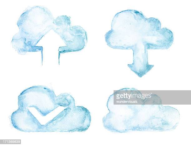 Wasserfarben Gemalte cloud computing-set in Blau