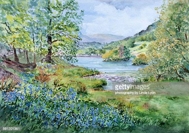 Watercolour Bluebells at Rydal Water