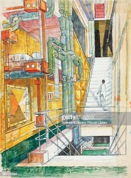 Watercolour drawing by Laurence Scarfe showing the main ventilation plant for the radiochemistry laboratories An electric precipitron for filtering...