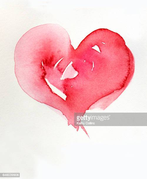 Watercolour heart painted on white paper background