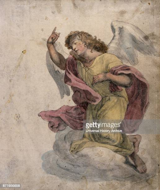 watercolour illustration showing an angel French circa 1830