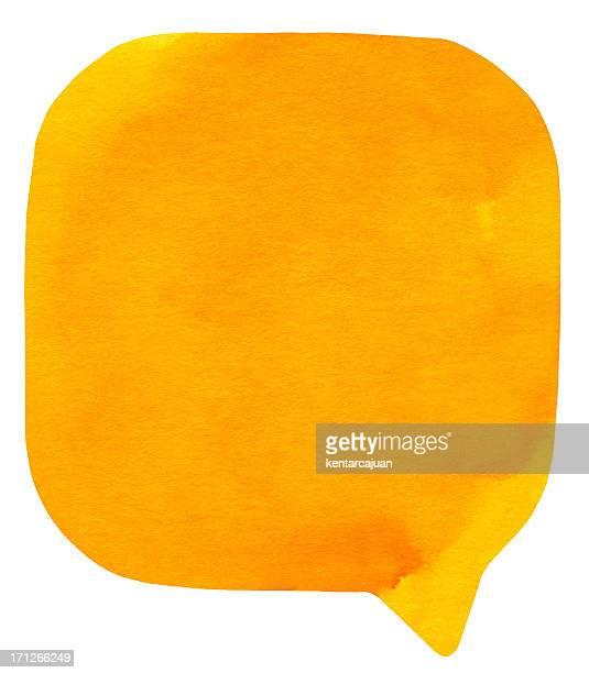Watercolour 明るいオレンジの吹き出し