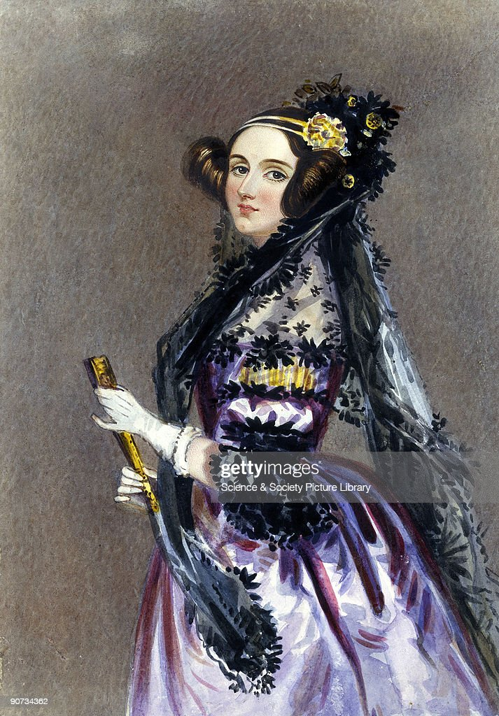 Watercolour portrait by Alfred Edward Chalon of Ada King wearing evening dress with a mantilla and holding a fan Augusta Ada King Countess of...