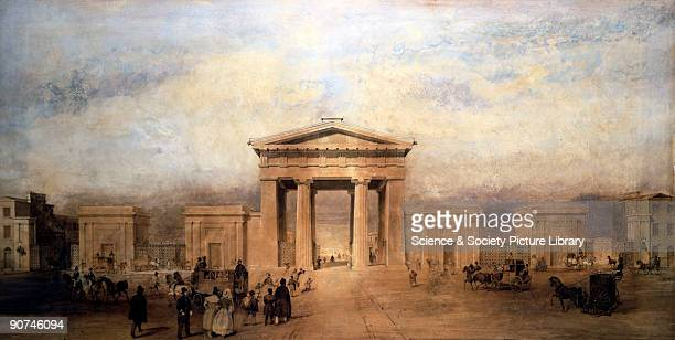 Watercolour showing Euston Arch and flanking buildings with figures in the foreground Railway architecture symbolished the pride felt by railway...