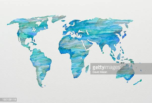 Watercolour world map in blues and greens