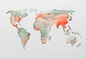Watercolour world map
