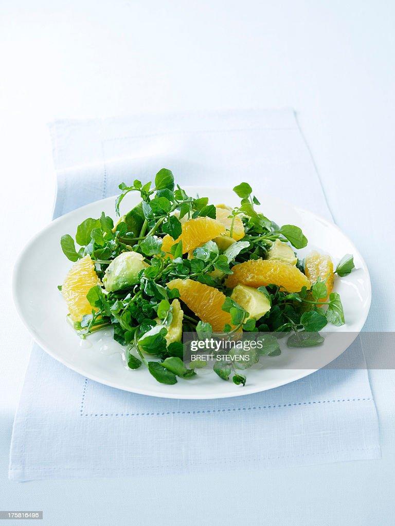 Watercress, avocado and orange salad : Stock Photo