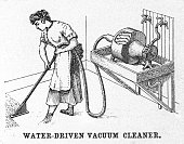 Waterdriven vacuum cleaner patented and it also consisted of a suction fan operated by a water motor that was attached to the ordinary kitchen faucet...