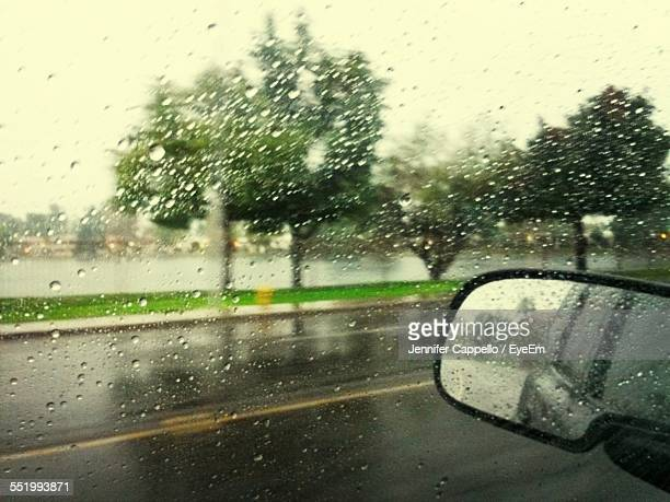 Waterdrops On Glass With View Of Road