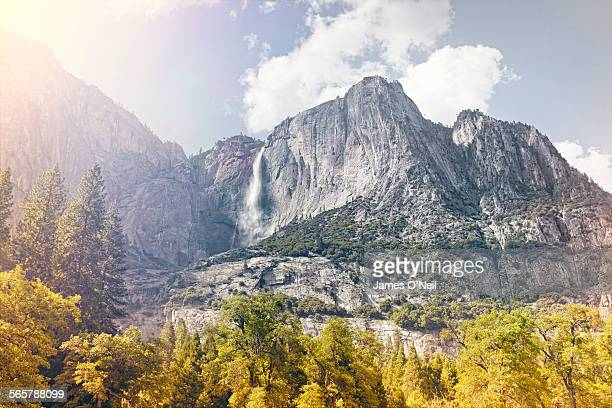 waterfall and mountains with foreground trees