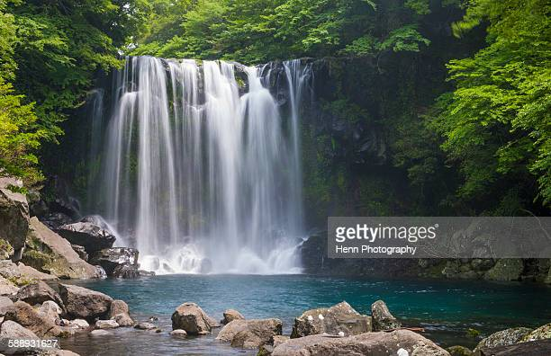 Waterfall at Cheonjeyeon falls on Jeju Island