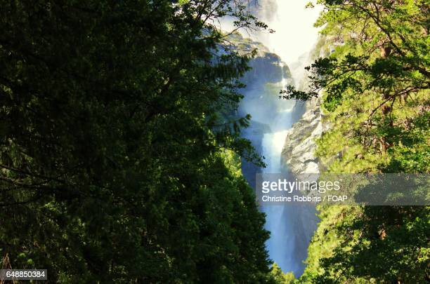 Waterfall between the mountains