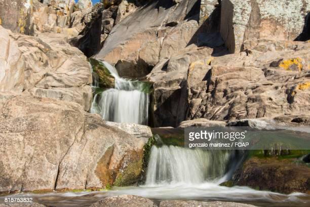 Waterfall flowing on rock