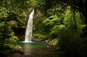 Waterfall in a tropical island landscape