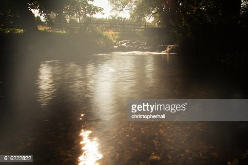 Waterfall in a small country stream. Long exposure. : Foto stock