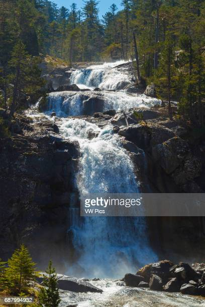 Waterfall in Gave de Gaube river Pont d«Espagne HautesPyrenees department MidiPyrenees region France Europe