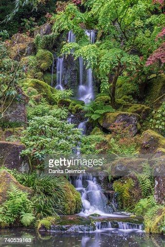 Waterfall In Portland Japanese Garden Portland Oregon Usa Stock ...