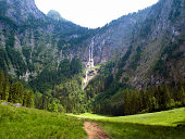 Waterfall in the Berchtesgaden Alps. Bavaria, Germany.