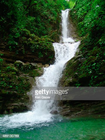 Waterfall in Verdant Jungle in Mexico