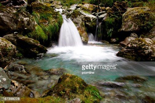 Waterfall into green pool Routeburn Mountain Trail, New Zealand : Stock Photo