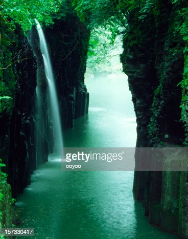waterfall of the ravine in Japan