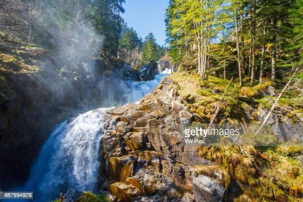 Waterfall Pont d«Espagne HautesPyrenees department MidiPyrenees region France Europe