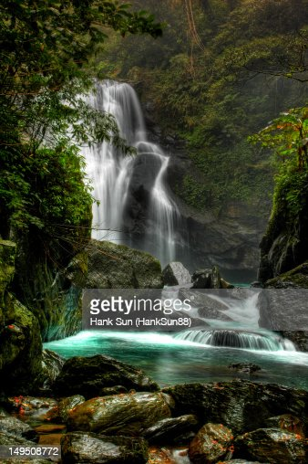 Waterfall with green river