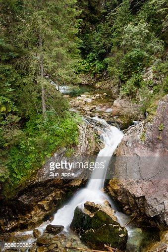 Waterfall with stones in forest, Sea Eye, Zakopane : Stock Photo