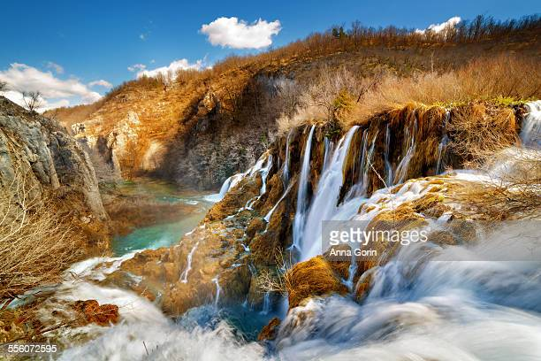 Waterfalls in spring at Plitvice Lakes, Croatia