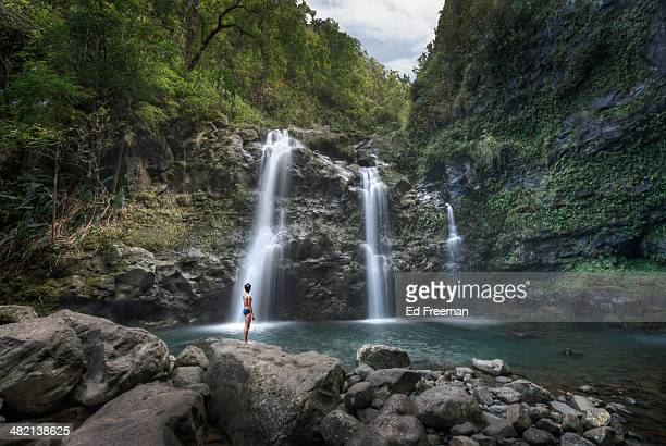 Waterfalls, Pool and Swimmer