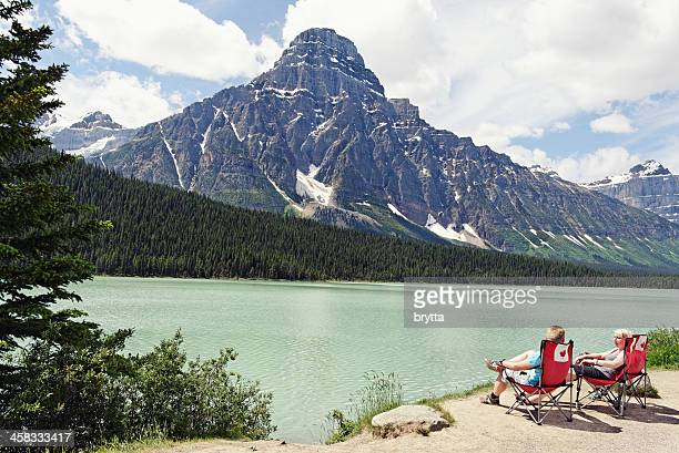 Waterfowl Lake and Mount Chephren in Canadian Rocky Mountains